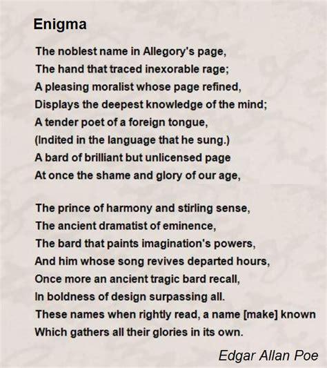 Edgar Allan Poe Poems Bio | enigma poem by edgar allan poe poem hunter