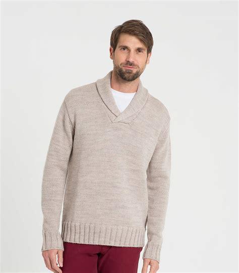 Cardigan Pull And oatmeal wool mens wool shawl collar sweater