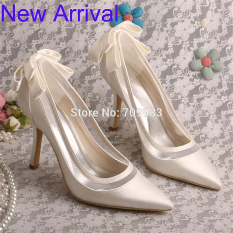 Bridal Pumps Shoes by Wedopus Stiletto Heel Pointed Toe Bow Pumps Ivory