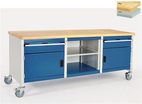 modular storage bench mobile bench 2 cupboards 2 drawers open section