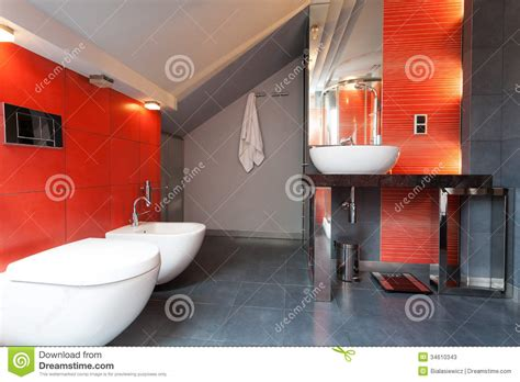 grey and red bathroom red and grey bathroom stock photos image 34610343