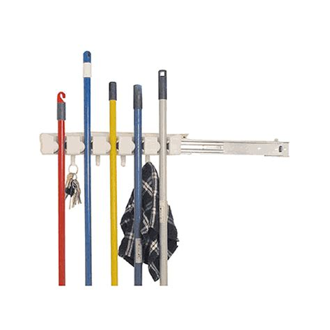 slide out mop and broom holder in broom and mop holders