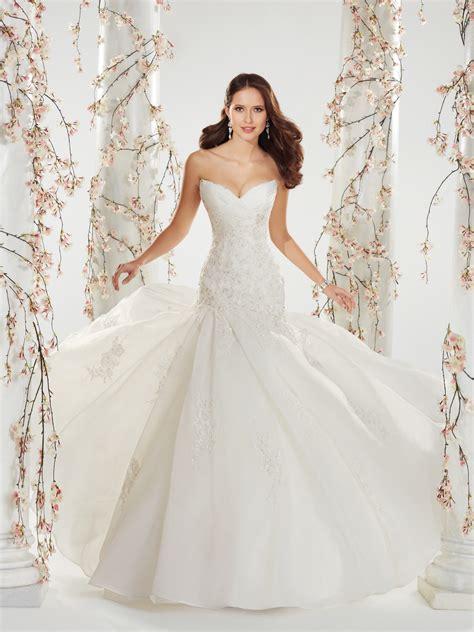 the wedding dress strapless organza wedding dress with chapel