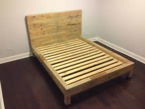 Wooden Pallet Bed Frame For Sale Reclaimed Oak Wood Bed Frame By Witusik2000 On Etsy