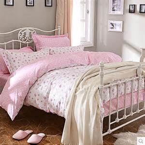 Twin Down Duvet Cute Hippie Pink Floral Teen Bedding Sets For Girls