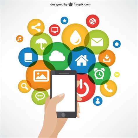 free mobile apps mobile phone with app icons vector premium