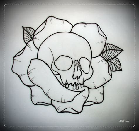 rose outline tattoo skull in flash outline by oldskulllovebymw