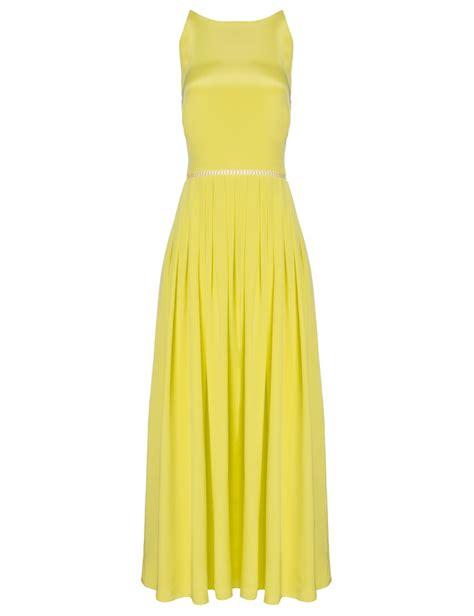 preen yellow silk satin pansy dress in yellow lyst