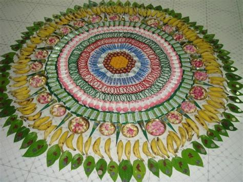 leaf pattern rangoli nnovative rangoli made with fruits soap bars bangles