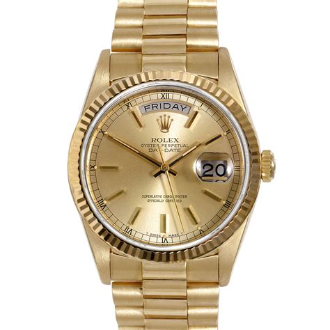 pre owned rolex mens 18k yellow gold day date president