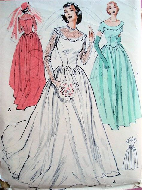 vintage pattern wedding dress 1950s lovely classic fifites wedding gown bridal dress