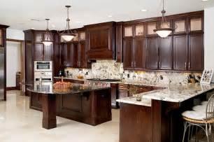 Kitchen color theme tile floor light granite cabinets dark wood