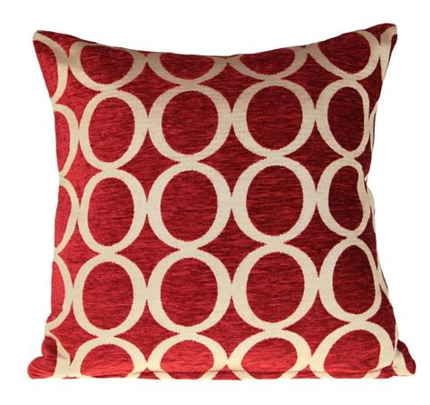 Red And Cream Cushions Luxury Chenille Velvet Cushion Cover Circles Design In