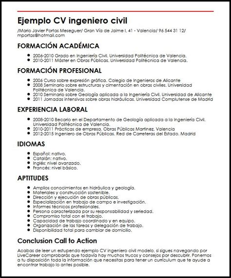 Modelo Curriculum Ingeniero Civil Ejemplo Cv Ingeniero Civil Modelo Micvideal