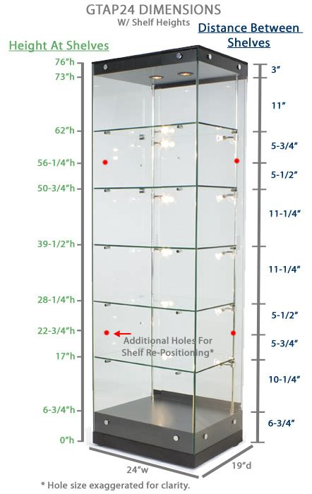 Shelf Measurements by Display Showcases Interior Lit Glass Display Cases