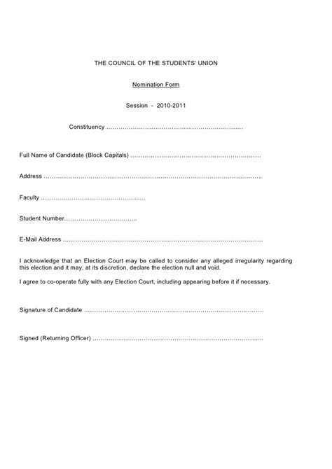 template of union 2010 src elections nomination form blank
