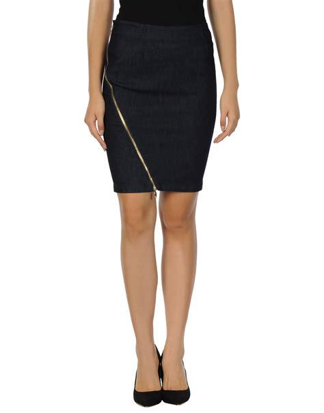 armani knee length skirt in blue lyst