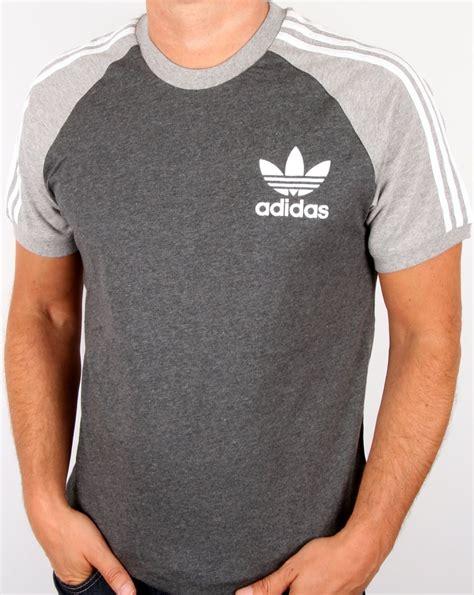 adidas originals retro 3 stripe t shirt grey light