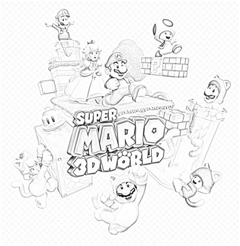mario 3d world coloring page free 3d word coloring pages