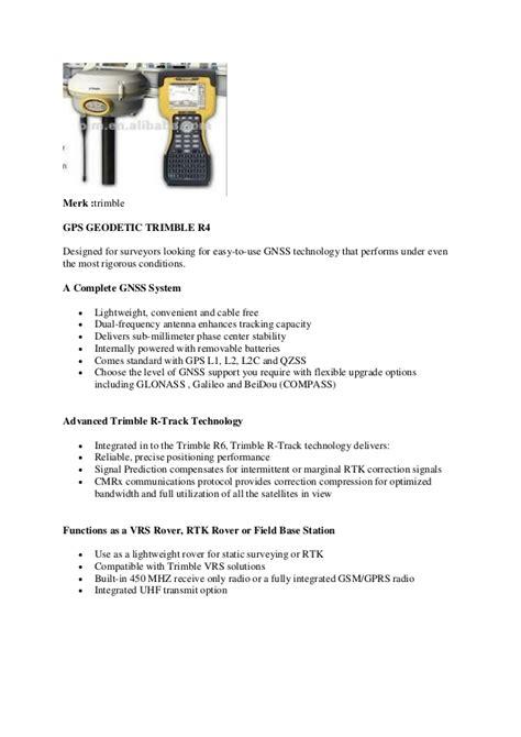 Gps Geodetic Trimble R4 021 95918297 jual gps geodetic trimble r4 l1 l2 post