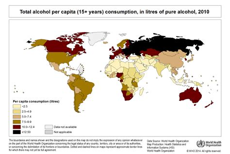 world s world health organization map of global alcohol