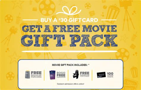 Buy Movie Gift Card - free cineplex movie gift pack when you buy a 30 gift card freebies canada