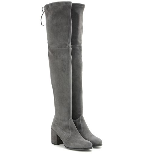 stuart weitzman the knee boots stuart weitzman tieland suede the knee boots in gray