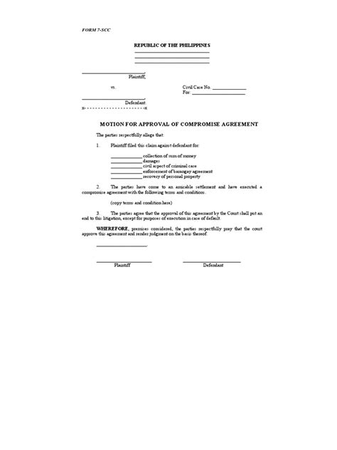 compromise agreement template 7 motion for approval of compromise agreement