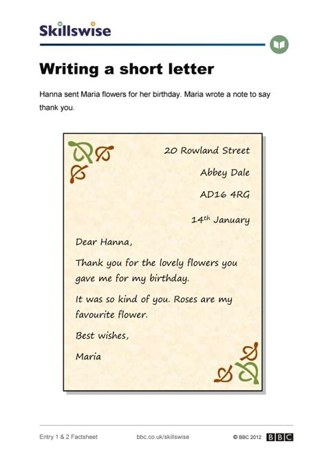 Thank You Letter Year 1 thank you letter writing ks1 how to write a generic
