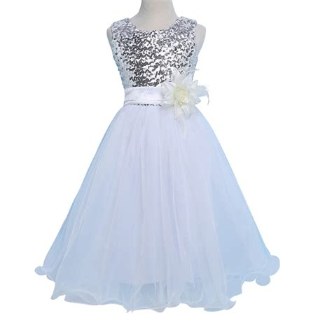 Dress Tutu White Blue Flower 4 6 Th Include Headbandgelangcincin white blue sequins flower dresses 2016 grace karin sleeveless o neck tutu dress wedding