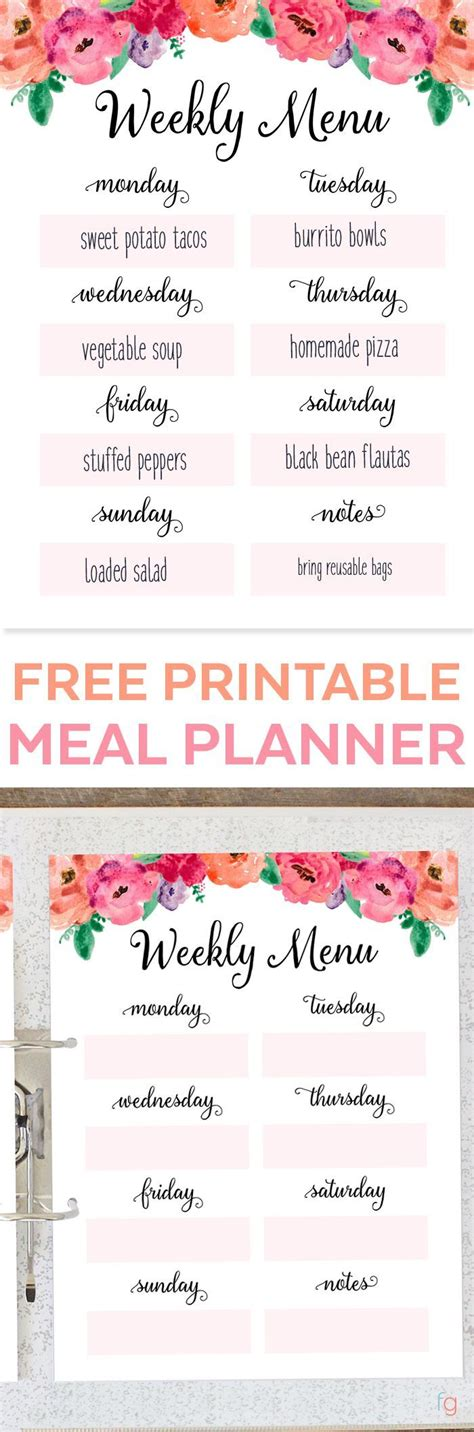 free printable meal planning ideas the 25 best meal planning templates ideas on pinterest