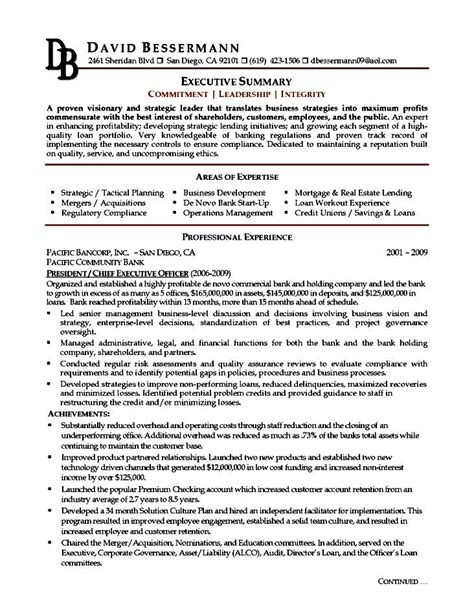 executive resume template exles free sles