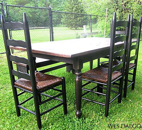 distressed table and chairs distressed black and walnut country dining table country
