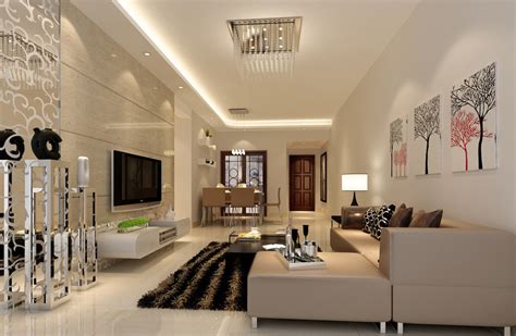 Living Room Lighting | modern minimalist living dining room lighting rendering
