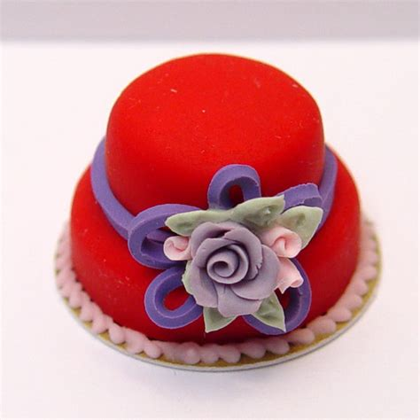 Red And Purple Home Decor minature red hat cake w purple rose pink rose buds and a