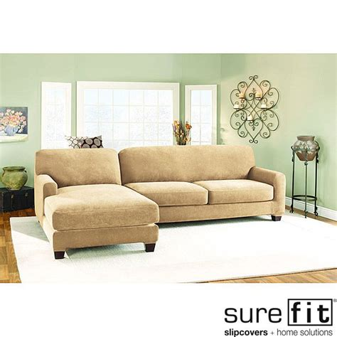 sure fit sectional slipcover sure fit pique cream sectional with left hand chase