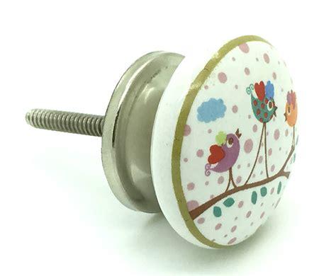 singing birds ceramic cupboard door handle drawer knob by