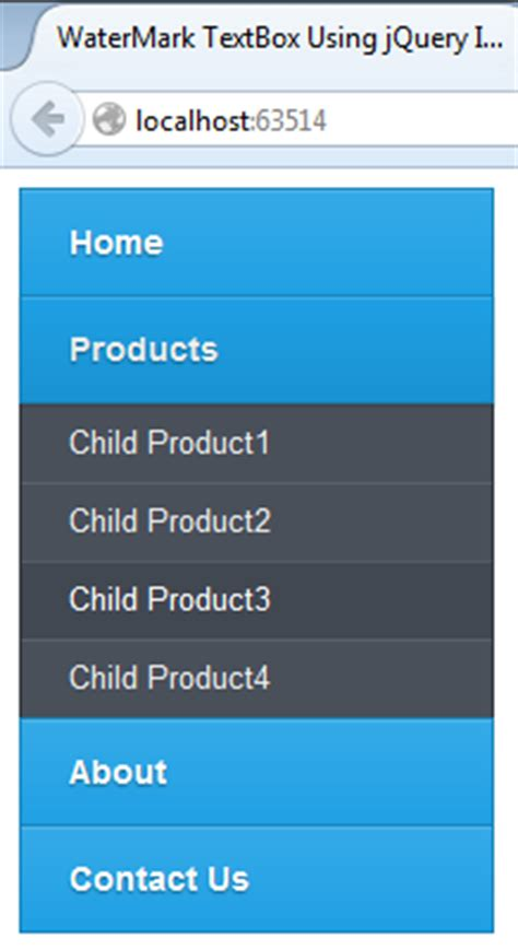 mvc layout left menu dynamic vertical css menu using jquery css and c net in