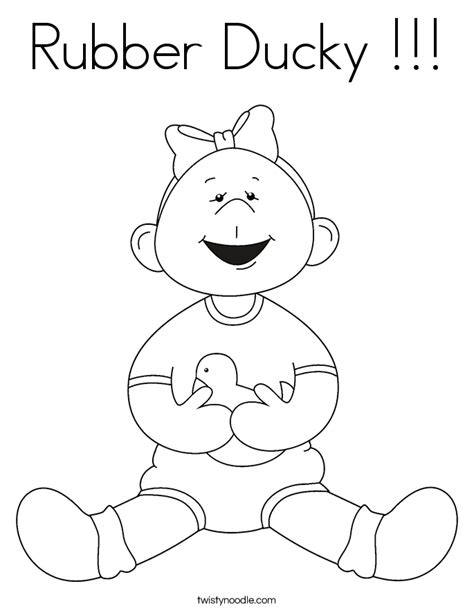 Rubber Ducky Coloring Page Twisty Noodle Rubber Duck Coloring Page
