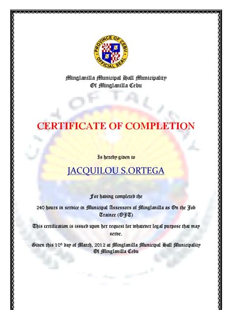 certificate of completion ojt template certificate of completion docojt