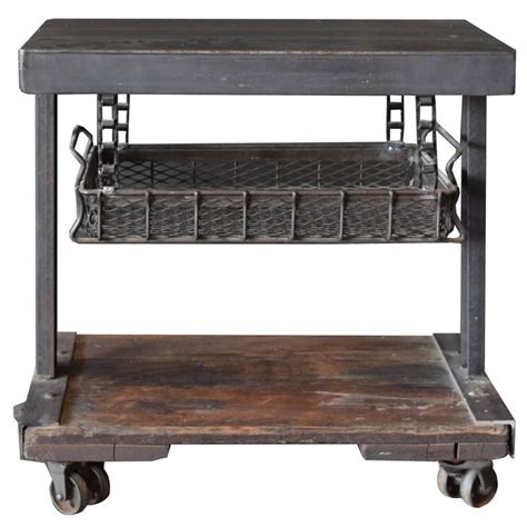 Industrial Side Table American Industrial Side Table With Tray At 1stdibs