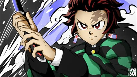demon slayer tanjirou kamado wearing black  green