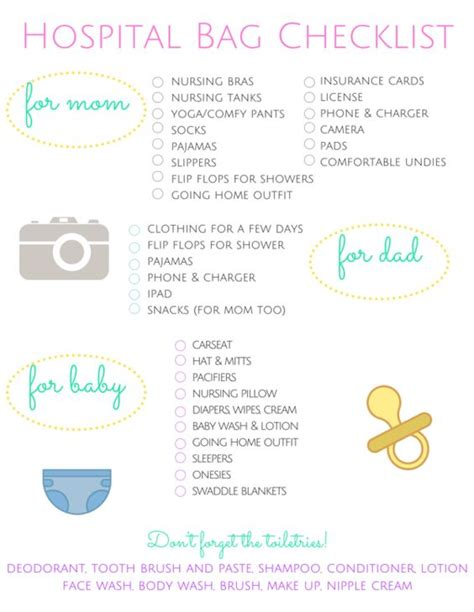 hospital checklist for c section delivery hospital bag checklist pinterest crafts