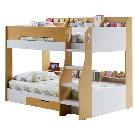 kids bunk beds with kids flick bunk bed in maple with storage cuckooland