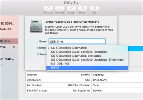 format exfat sdxc how to erase and format a usb drive on your mac