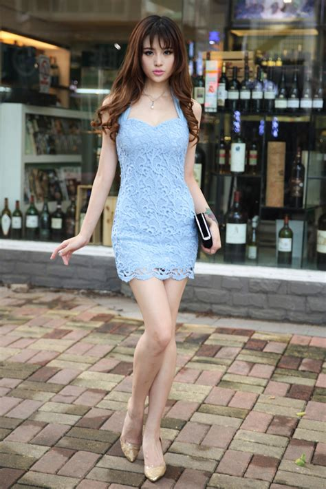 Home Design Japanese Style casual korean new arrival halter dress sexy lace slim cut
