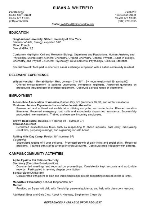 Student College Resume Format by College Resume Format For High School Students College