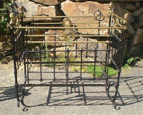 antique cast iron brass baby rocking rocker crib orna