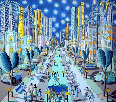 tel aviv naive art paintings urban landscape painting