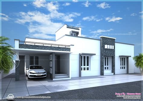 Single Floor Modern House Plans by Contemporary Single Floor Home In 1350 Sq Ft Kerala Home